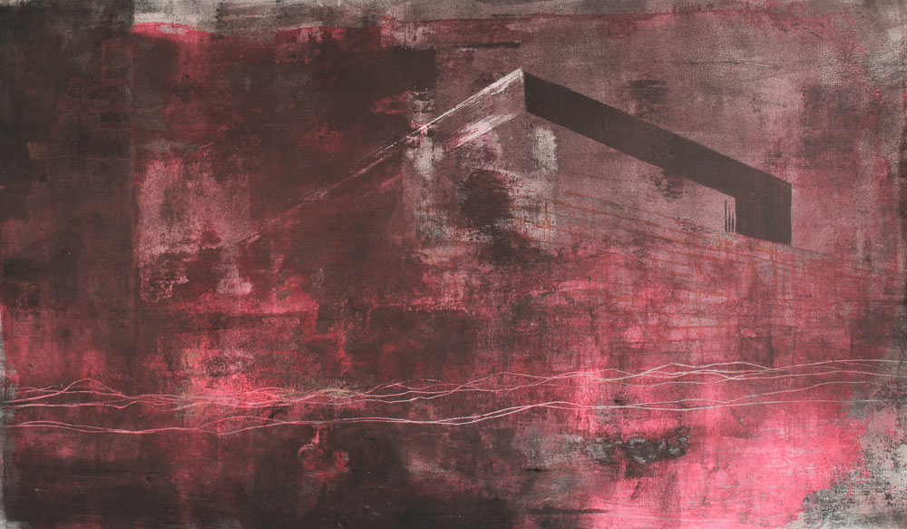 #201417 | Asche und Acryl auf Leinwand | 39 x 67 cm