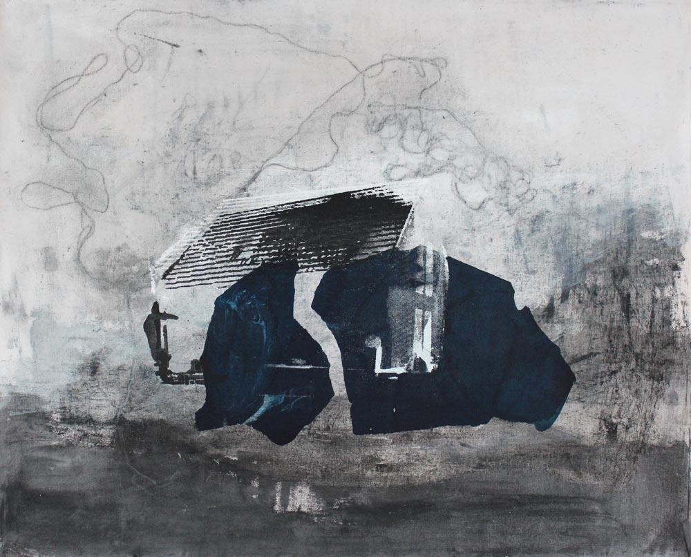 #201712 | Asche, Acryl und Siebdruck auf Leinwand | 65 x 80 cm