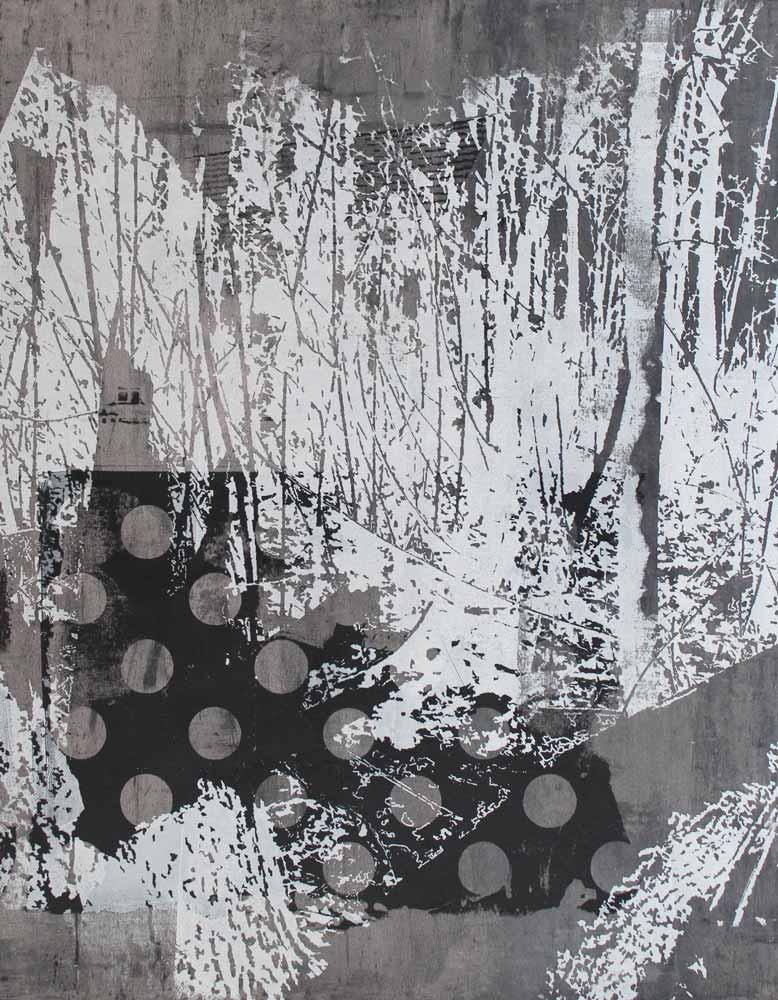 #20186 | Asche und Siebdruck auf Leinwand | 70 x 53 cm