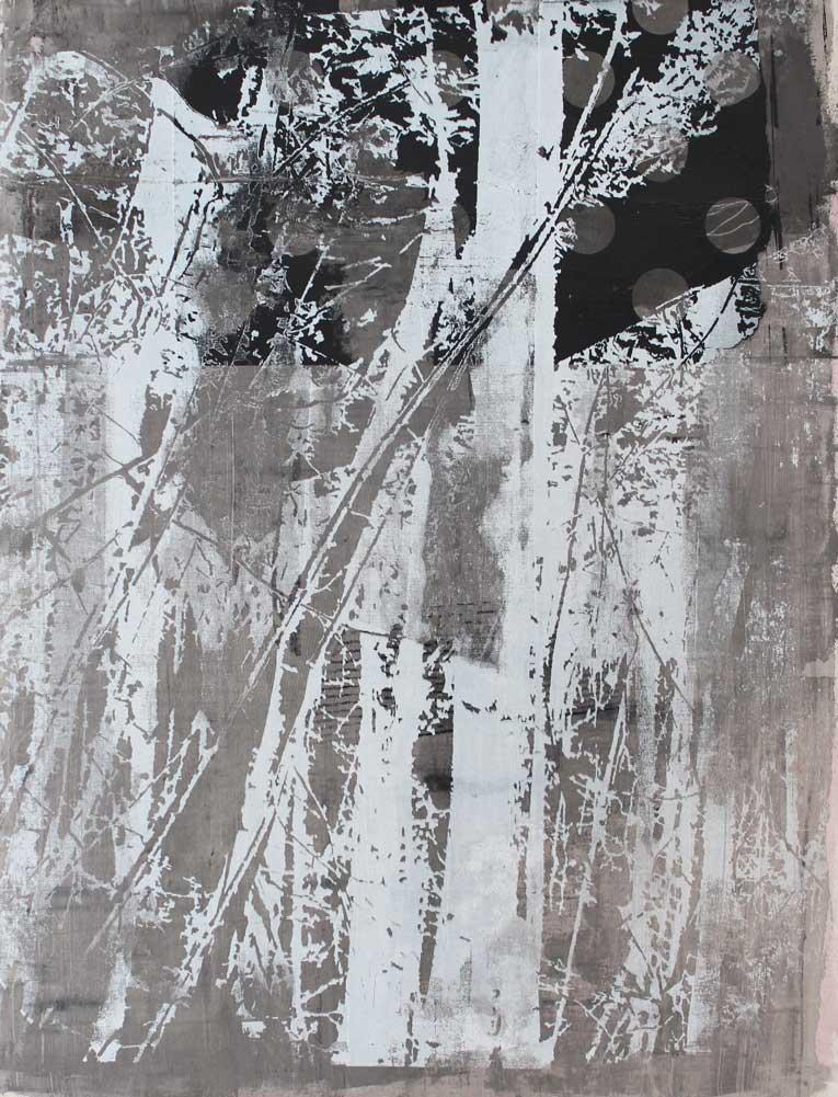 #20187 | Asche und Siebdruck auf Leinwand | 70 x 53 cm