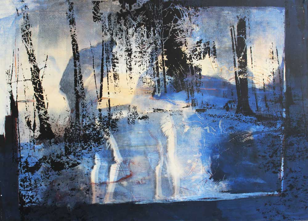 #201823 | Lichtung | Acryl und Siebdruck | 70 x 100 cm