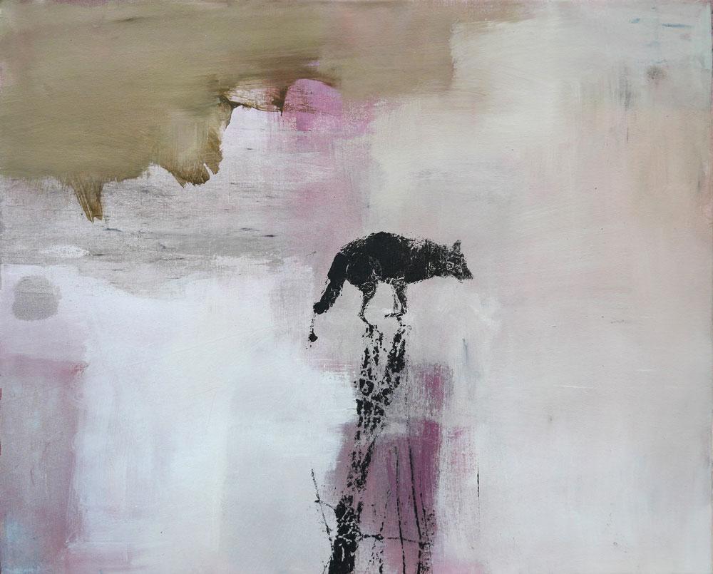 #201831 | Asche, Pigment und Siebdruck auf Leinwand | 65 x 80 cm