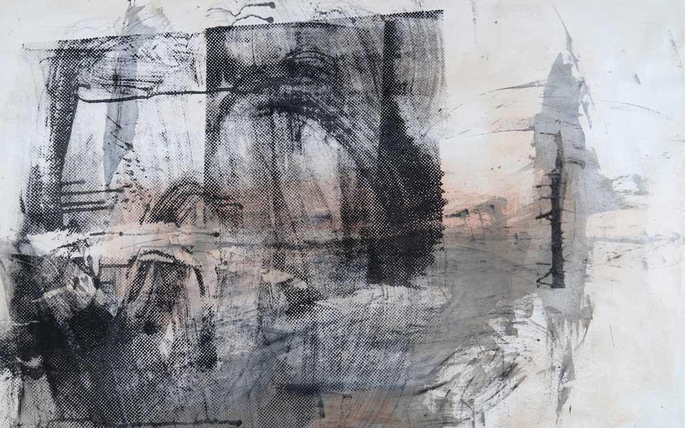 #201931 | Asche, Pigment und Siebdruck auf Leinwand | 90 x 140 cm