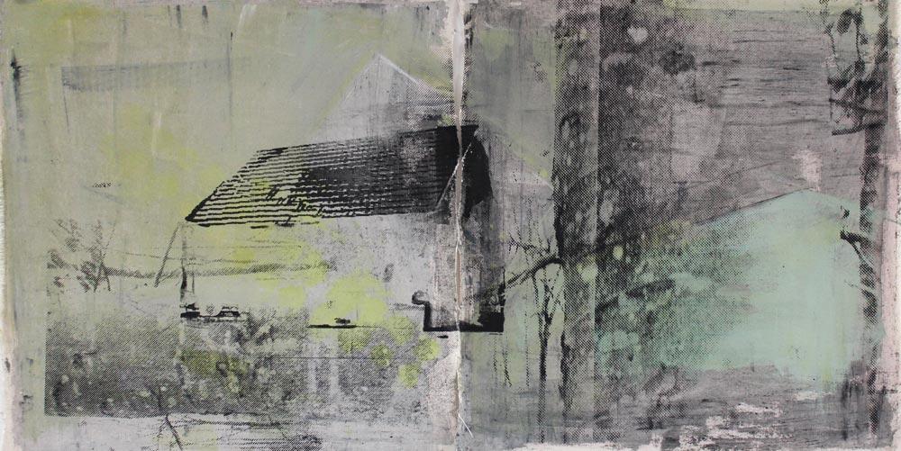 #201713   Asche, Acryl und Siebdruck auf Leinwand   48 x 92 cm