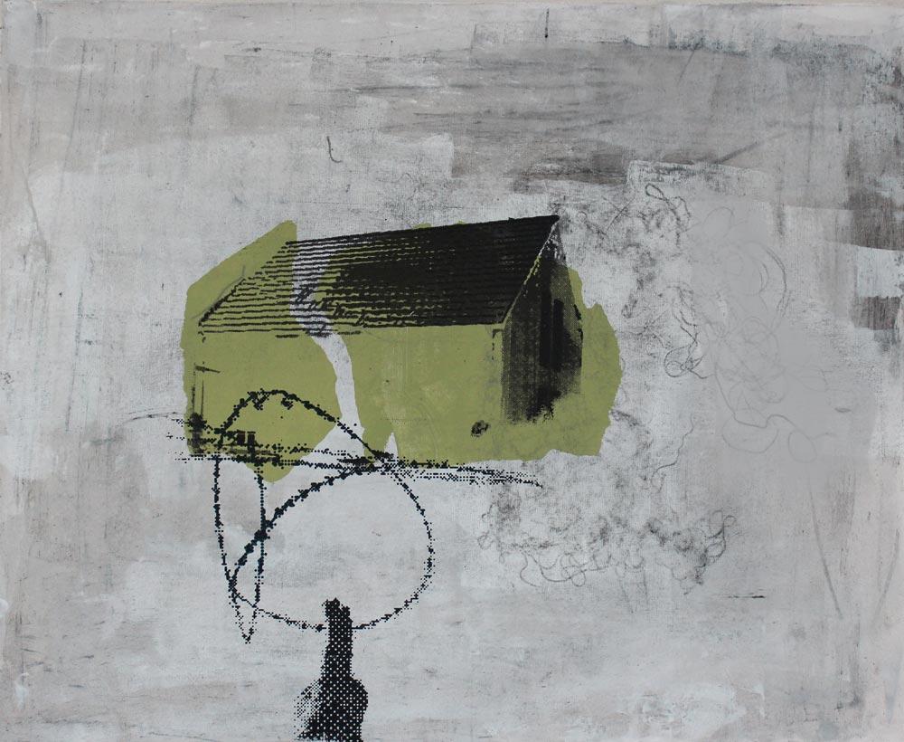 #201711   Asche, Acryl und Siebdruck auf Leinwand   65 x 80 cm
