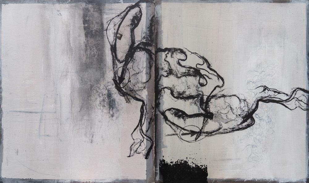 #201769 | Asche, Pigment und Siebdruck auf Leinwand | 64 x 108 cm