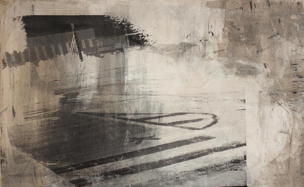 #201563 | Asche und Siebdruck auf Leinwand | 50 x 80 cm