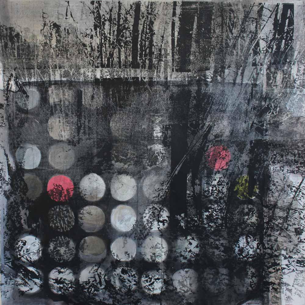 #201726 | Acryl, Pigment und Siebdruck auf Leinwand | 100 x 100 cm