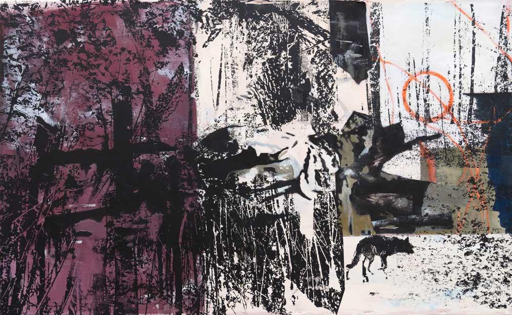 #201777 | Acryl und Siebdruck auf Leinwand | 90 x 147 cm