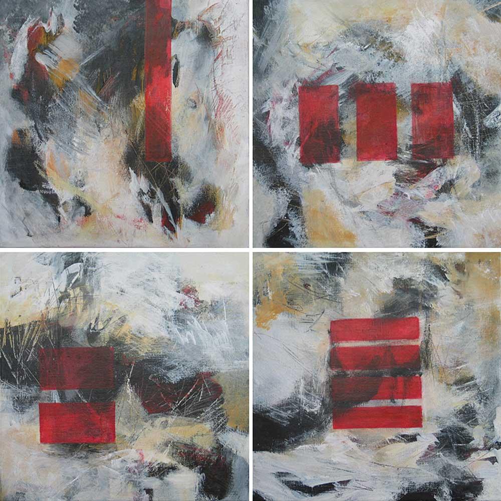 #200341 | Variationen zu einem Thema #1 | 4teilig | Acryl auf Leinwand | je 40 x 40 cm