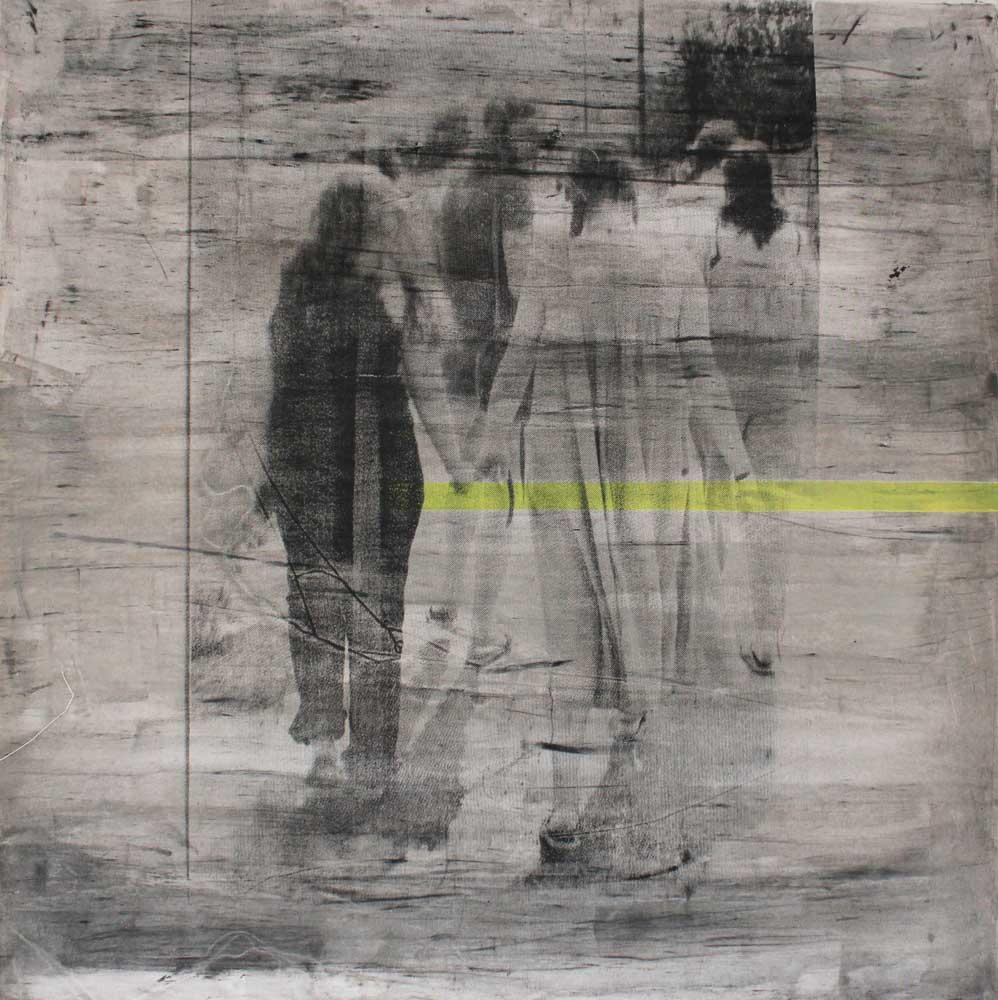 #201625 | Asche, Acryl und Siebdruck auf Leinwand | 100 x 100 cm