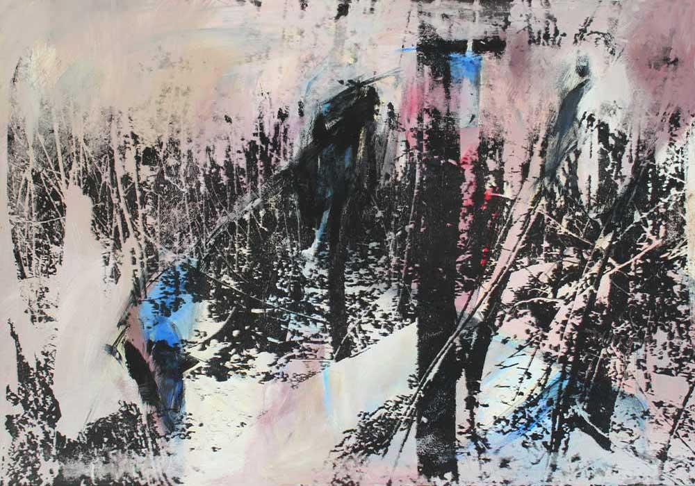 Lichtung #2017101 | Acryl und Siebdruck | 70 x 100 cm