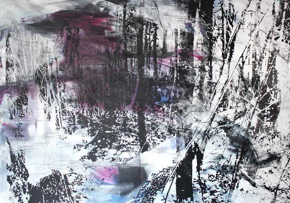 Lichtung #2017135 | Acryl und Siebdruck | 70 x 100 cm