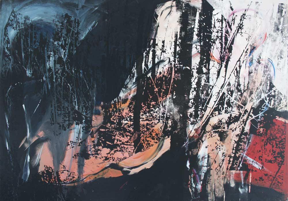 Lichtung #2017136 | Acryl und Siebdruck | 70 x 100 cm
