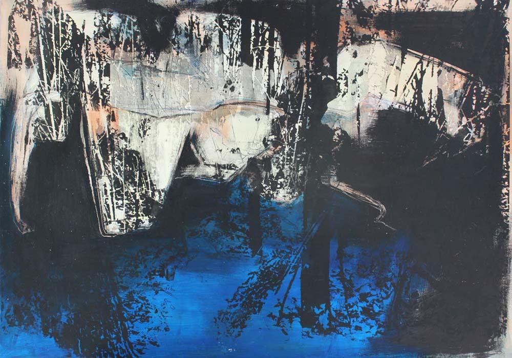 Lichtung #201793 | Acryl und Siebdruck | 70 x 100 cm