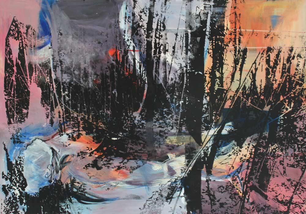 Lichtung #201795 | Acryl und Siebdruck | 70 x 100 cm
