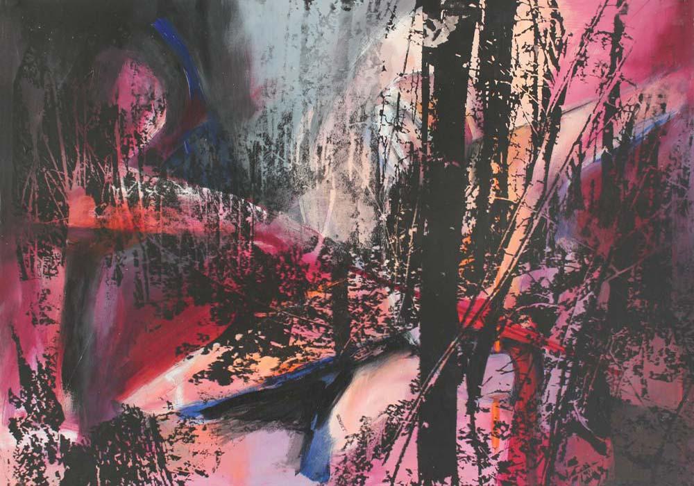 Lichtung #201799 | Acryl und Siebdruck | 70 x 100 cm