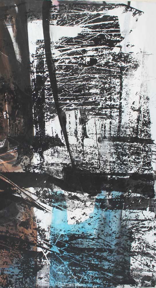 #201783 | Acryl und Siebdruck auf Leinwand | 100 x 55 cm