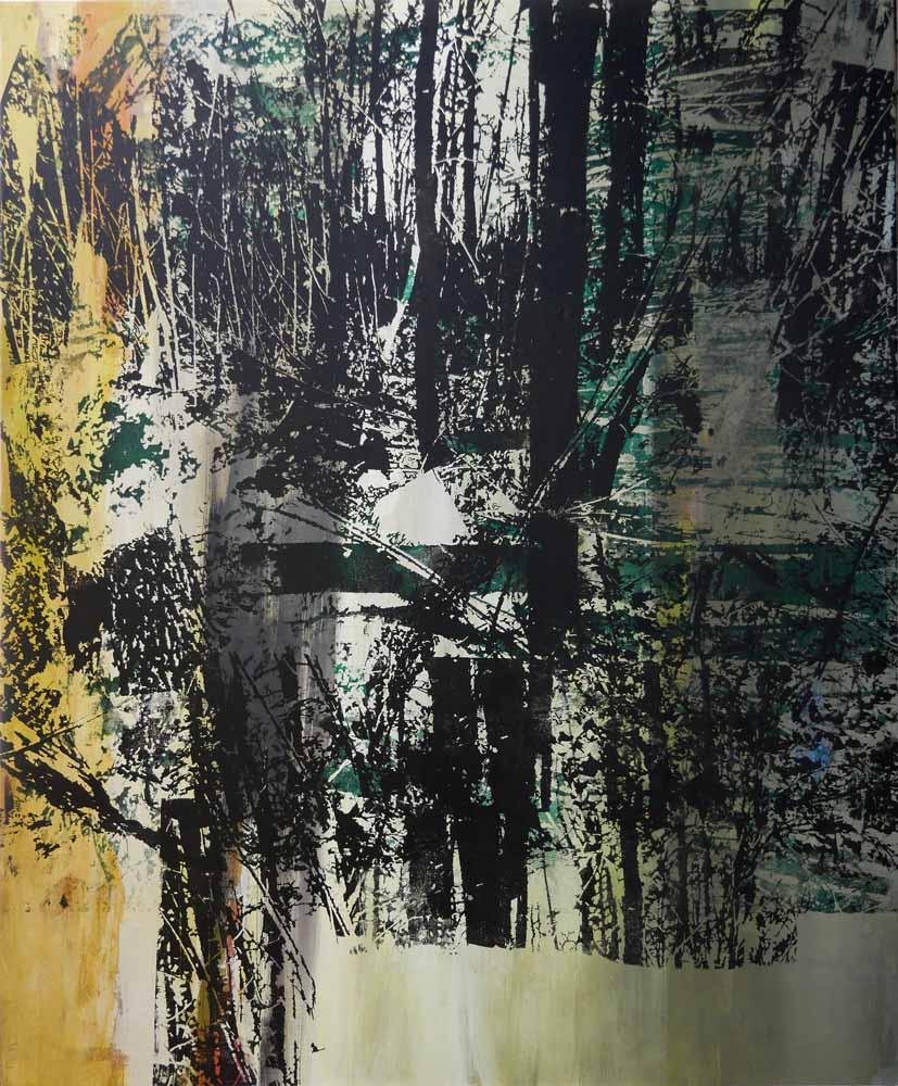 #201778   Acryl und Siebdruck auf Leinwand   120 x 99 cm