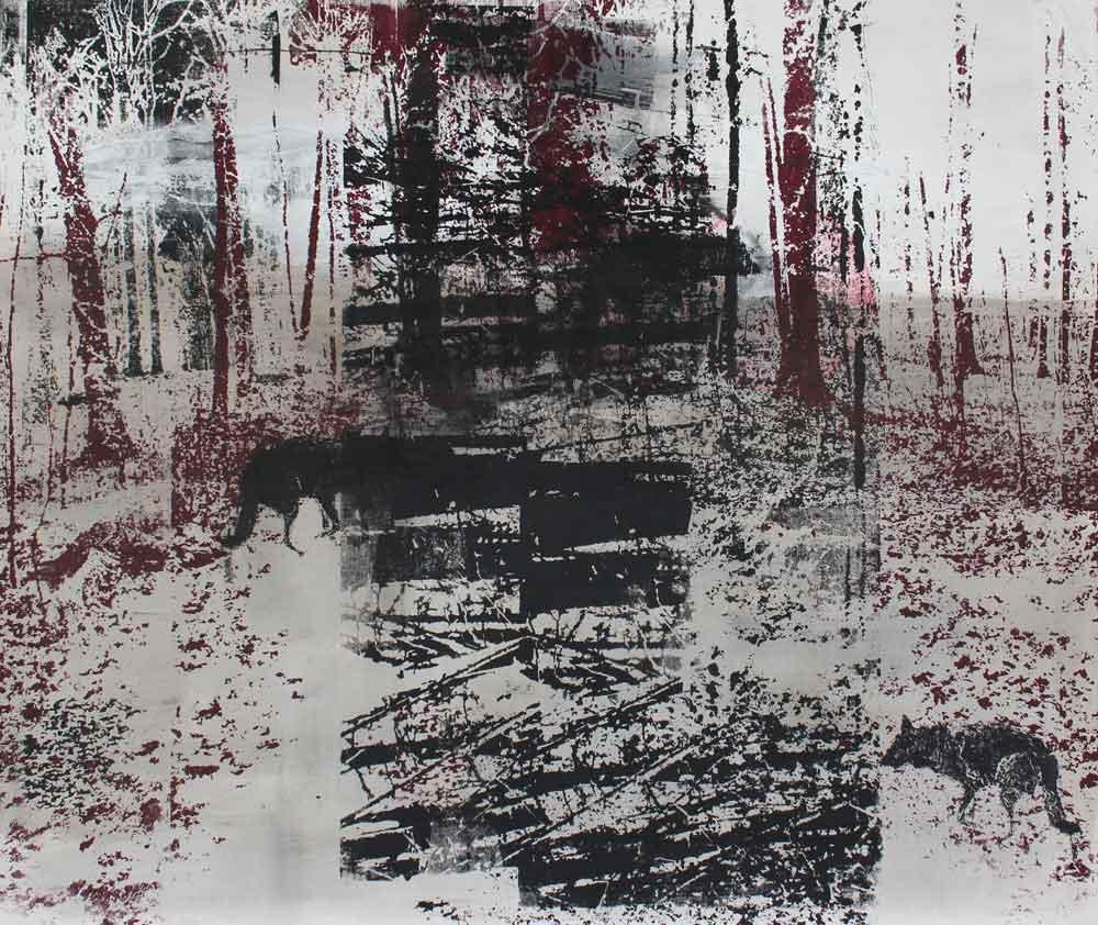 #201779 | Asche, Pigment und Siebdruck auf Leinwand | 80 x 100 cm